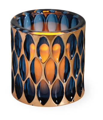 Indian Summer Glass Tealight Holder Sapphire/Copper