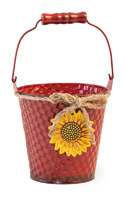 Basketweave Red Pail