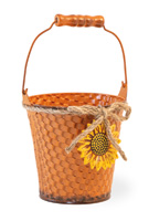 Basketweave Orange Pail