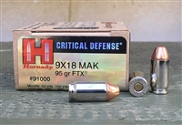 HORNADY CRITICAL DEFENSE 9x18 MAKAROV 95gr FTX 25rd BOX