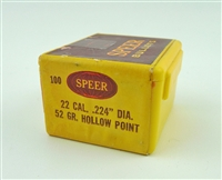 SPEER 22 CALIBER 52 GRAIN HOLLOW POINT BULLETS