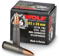 WOLF 7.62x39mm 122gr FMJ 1000rd CASE