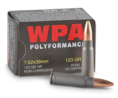 Wolf 7.62x39mm 123 gr. HP STEEL CASE
