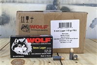 WOLF 9mm LUGER 115gr FMJ STEEL CASE