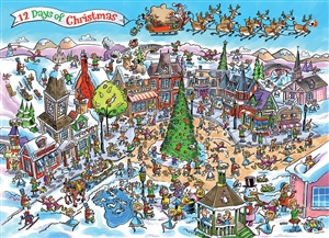 1000pc DoodleTown: 12 Days of Christmas jigsaw puzzle | 53505 | Cobble Hill Puzzle Co