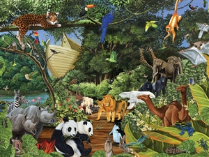 Family Pieces 350 Noahs Gathering animal jigsaw puzzle | Cobble Hill Puzzle Company
