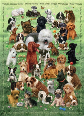350pc Puppy Love jigsaw puzzle by Cobble Hill Puzzle Co. (mixed piece sizes)