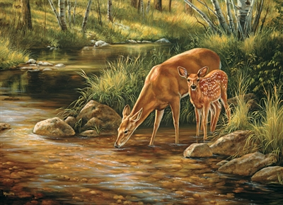 350pc Deer Family jigsaw puzzle by Cobble Hill Puzzle Co. (mixed piece sizes)