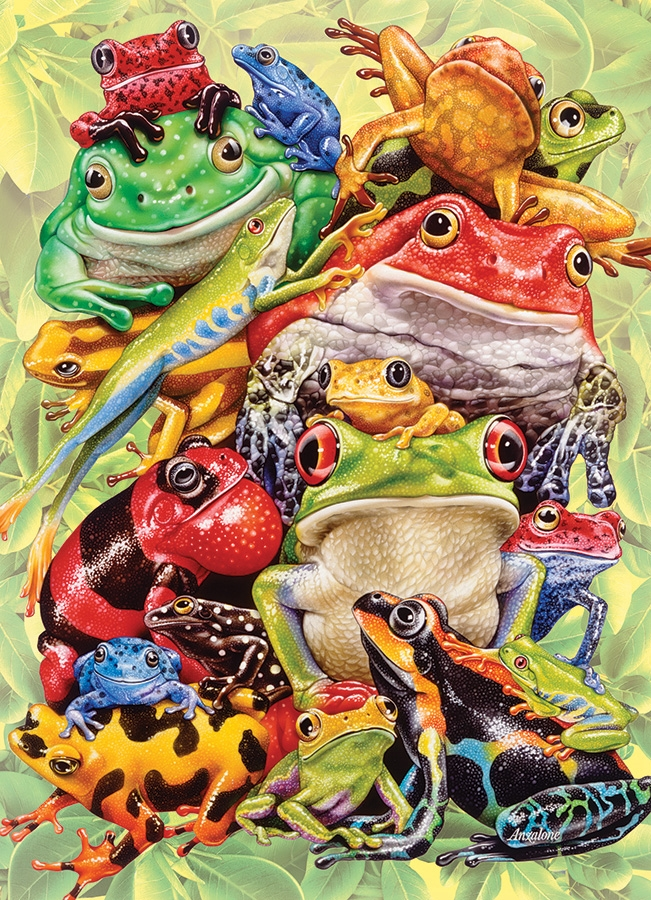 350pc Family Puzzle Frog Pile jigsaw puzzle by Cobble Hill Puzzle Co.  (mixed piece sizes)