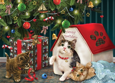 Happy Pawlidays (Family) Easy Handling 275 pc jigsaw puzzle by Cobble Hill Puzzle Co.