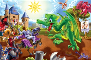 36pc Knights and Dragons jigsaw puzzle | Cobble Hill Puzzle Company