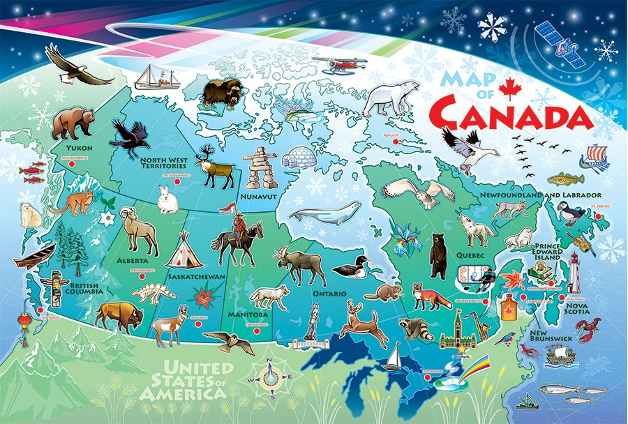 West Of Canada Map.Map Of Canada Floor Puzzle