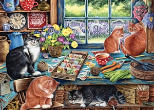 35pc Garden Shed Cats Tray jigsaw puzzle | Item 58872 | Cobble Hill Puzzle Company