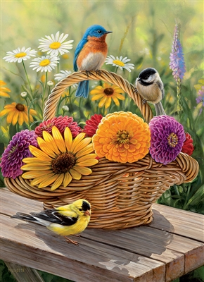 35pc Bluebird and Bouquet Tray jigsaw puzzle | Item 58886 | Cobble Hill Puzzle Company