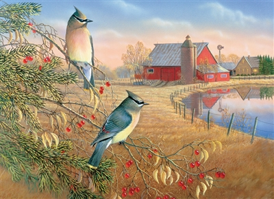 1000pc Cedar Waxwings jigsaw puzzle by Cobble Hill Puzzle Co.