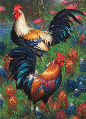 1000pc Roosters jigsaw puzzle by Cobble Hill Puzzle Co.