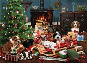 1000pc Christmas Puppies jigsaw puzzle by Cobble Hill Puzzle Co.