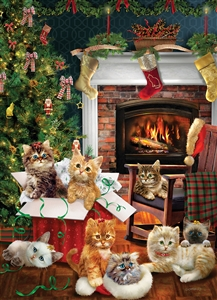1000pc Christmad Kittens jigsaw puzzle by Cobble Hill Puzzle Co.