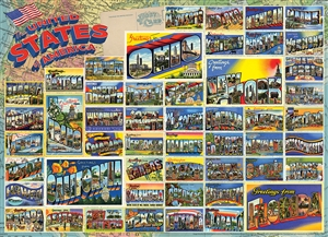 Vintage American Postcards 1000pc jigsaw puzzle by Cobble Hill Puzzle Co.