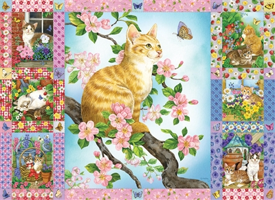Blossoms and Kittens Quilt 1000pc jigsaw puzzle by Cobble Hill Puzzle Co.