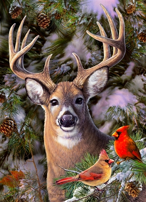 500 piece One Deer Two Cardinals jigsaw puzzle | 85014 | Cobble Hill Puzzle Company