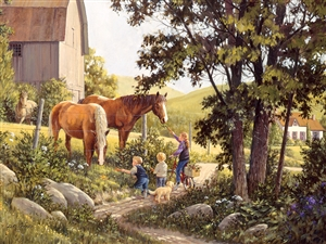 500pc Summer Horses farm jigsaw puzzle | 85038 | Cobble Hill Puzzle Company
