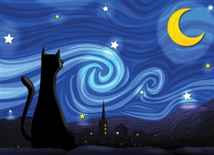 500pc Mrowwy Night jigsaw puzzle by Cobble Hill Puzzle Co.  (The Oatmeal's Matt Inman)