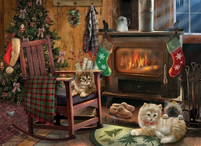 Kittens by the Stove 500pc jigsaw puzzle by Cobble Hill Puzzle Co.