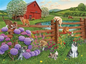 275 pc Easy Handling puzzle Farm Cats puzzle  | 88007 | Cobble Hill Puzzle Company