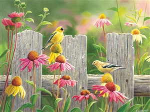 275 piece Easy Handling Pink and Gold bird puzzle  | 88017 | Cobble Hill Puzzle Company