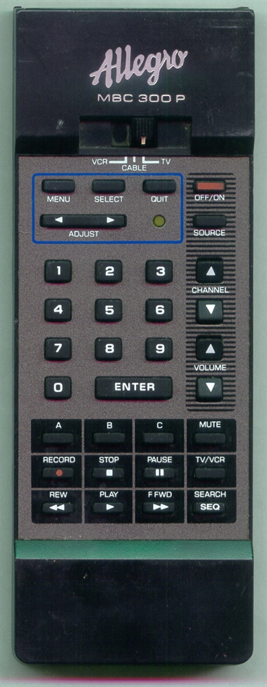 ALLEGRO 124-00156-69 MBC300P Refurbished Genuine OEM Remote