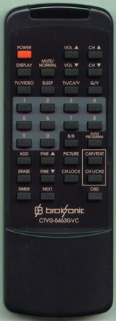 BROKSONIC CTVG5463GVC Genuine  OEM original Remote