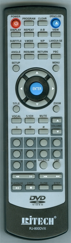 RJ TECHNOLOGY RJ800DVX Genuine  OEM original Remote