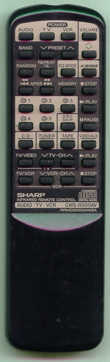 SHARP RRMCG0003AWSA RRMCG0003AWSA Refurbished Genuine OEM Remote