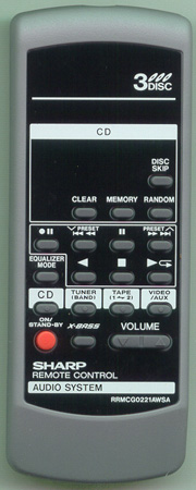 SHARP RRMCG0221AWSA RRMCG0221AWSA Genuine OEM original Remote