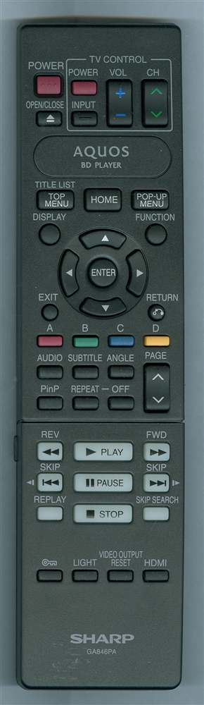 SHARP RRMCGA846WJPA GA846PA Refurbished Genuine OEM Original Remote
