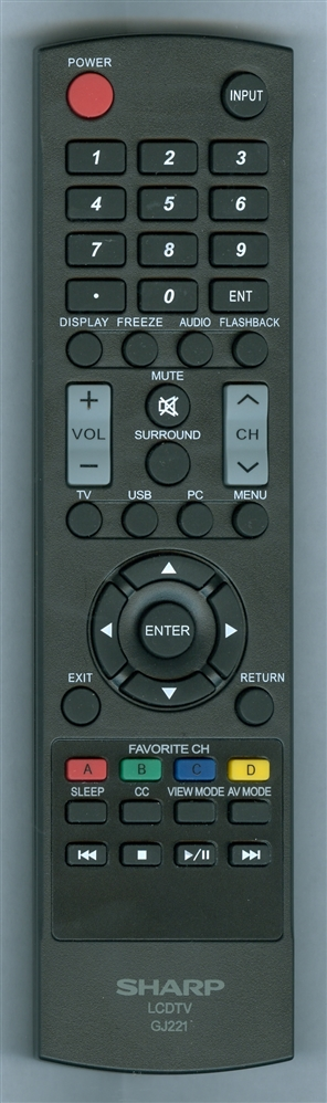 SHARP 9JY600153G00886 GJ221 Refurbished Genuine OEM Original Remote