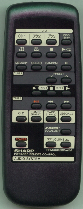 SHARP RRMCG0099AWSA RRMCG0099AWSA Refurbished Genuine OEM Remote