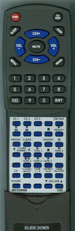 SHARP RRMCG0099AWSA Custom Built  Redi Remote