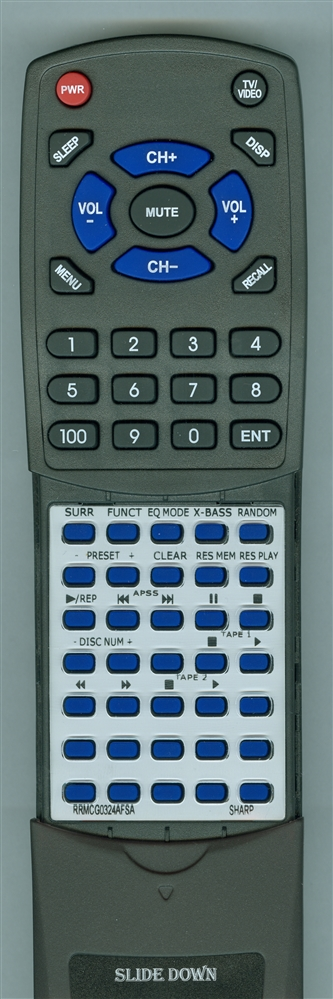SHARP RRMCG0324AFSA Custom Built  Redi Remote