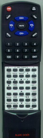 SHARP RRMCGA122AWSA Custom Built Redi Remote