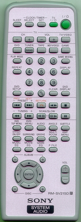 SONY 1-477-317-11 RMSV215D Refurbished Genuine OEM Original Remote