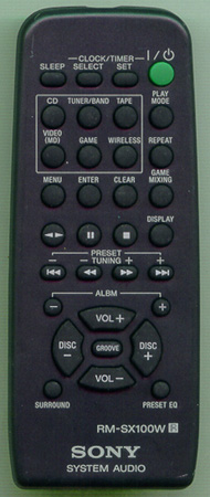 SONY 1-477-800-11 RMSX100W Genuine  OEM original Remote