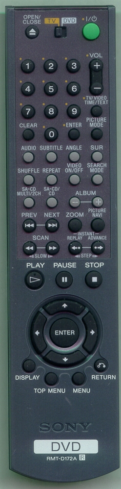SONY 1-478-843-31 RMTD172A Refurbished Genuine OEM Original Remote