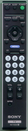 SONY 1-480-722-11 RM-YD025 Genuine OEM original Remote