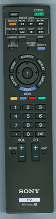 SONY 1-487-767-12 RM-YD033 Genuine OEM Original Remote