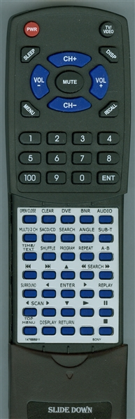 SONY 1-476-889-11 RMT-D131A Custom Built Redi Remote