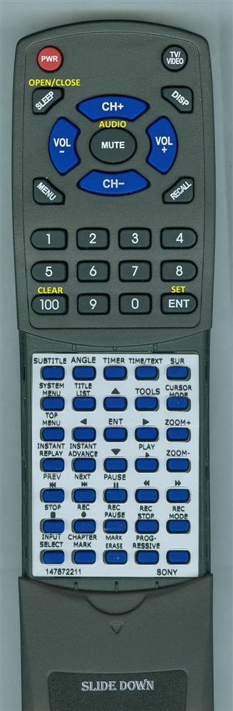 SONY 1-478-722-11 RMT-D205A Custom Built  Redi Remote