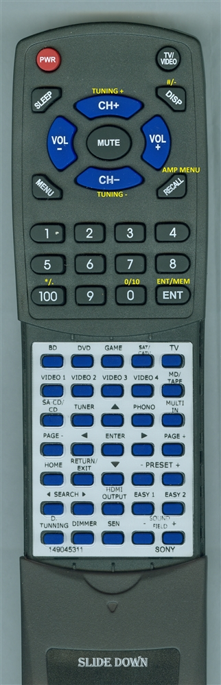 SONY 1-490-453-11 RM-AAU154 Custom Built Redi Remote