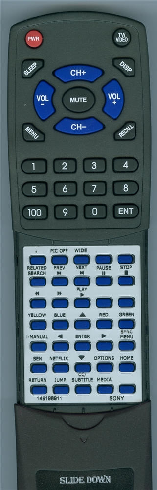 SONY 1-491-989-11 RM-YD089 Custom Built  Redi Remote